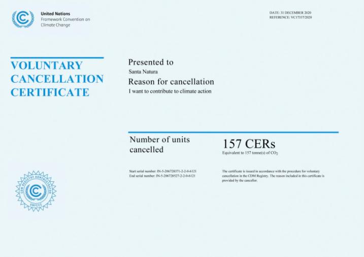 Certificado otorgado a Santa Natura por la Organización de las Naciones Unidas para el Clima