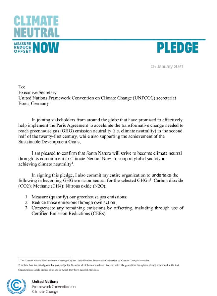 Carta de Santa Natura comprometiéndose a ser carbono neutral como parte de su compromiso a Climate Neutral Now.
